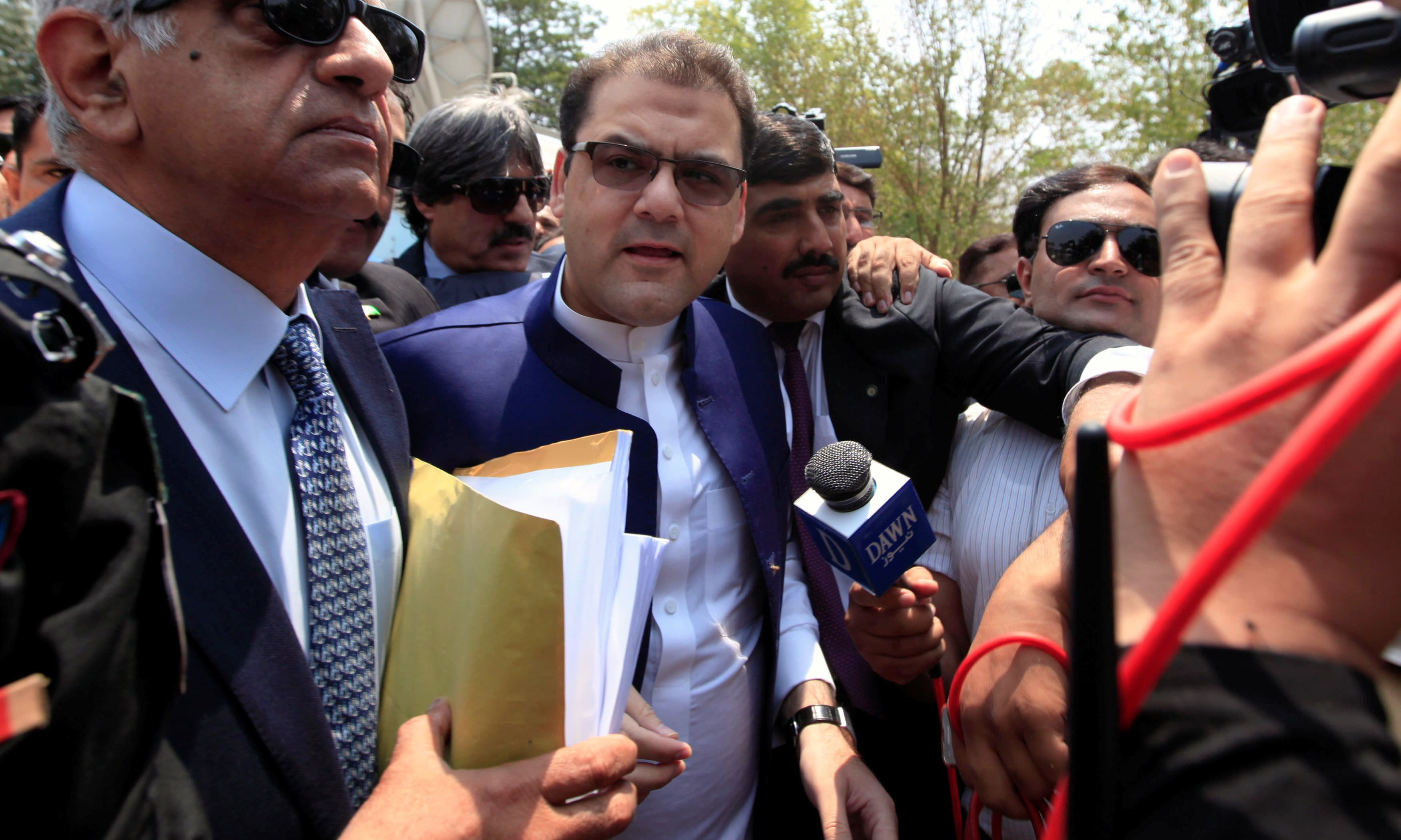 Hussain Nawaz arrives to appear before the JIT formed by the Supreme Court to investigate the Sharif's family offshore firms and properties linked with the Panama leaks. —Reuters