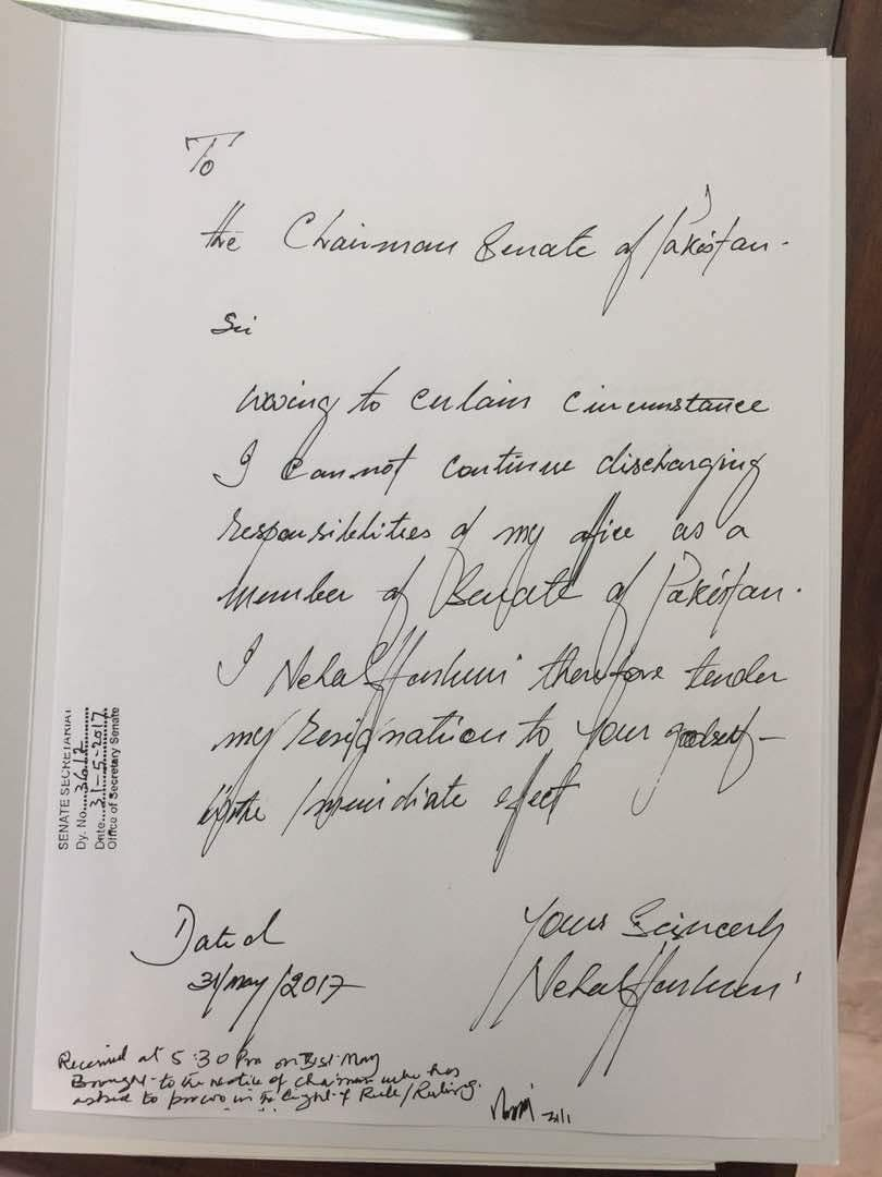 Senator Nehal Hashmi's resignation, received by the Senate Secretariat Wednesday evening. Photo: Dawn.