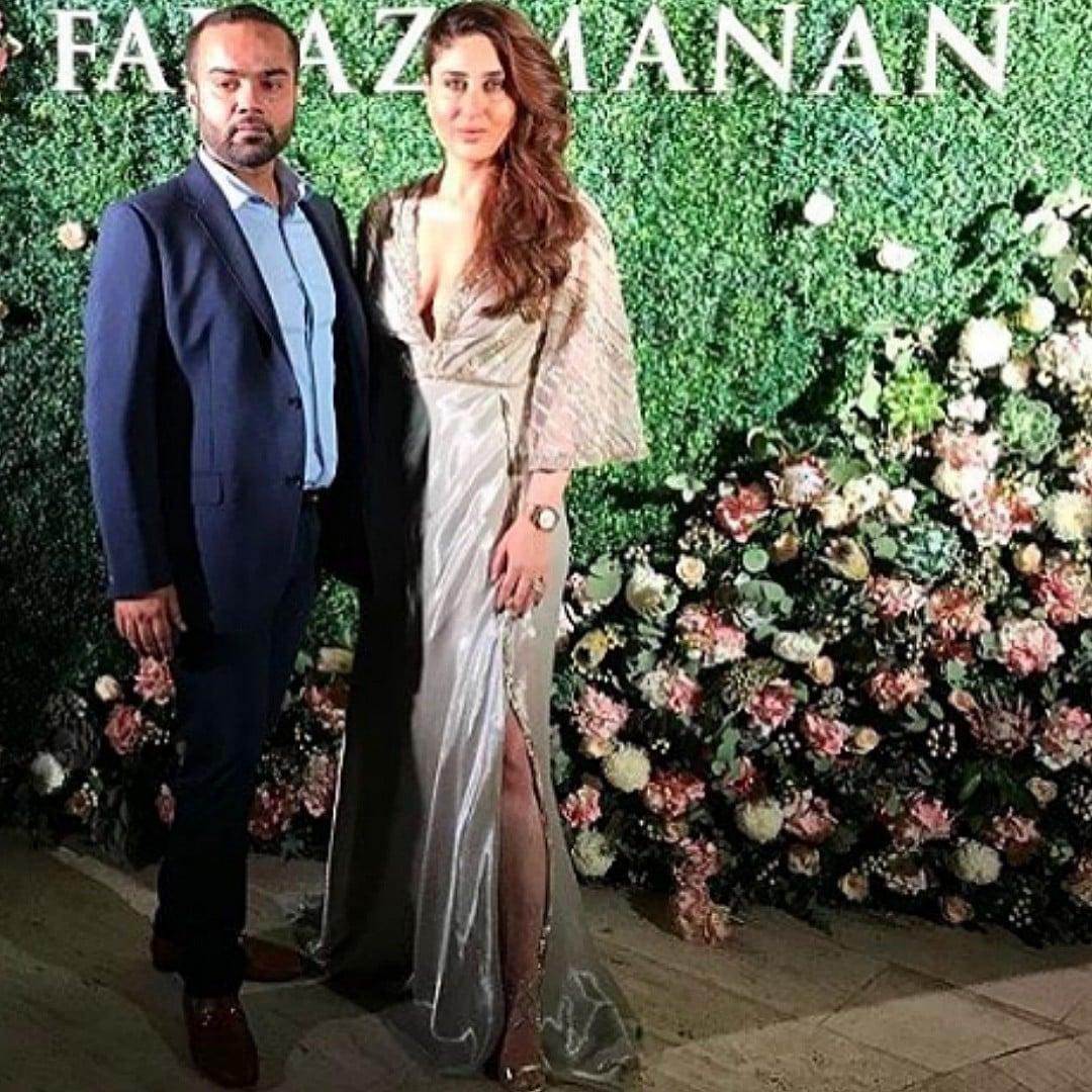 Kareena Kapoor with Faraz Manan at the Mirage show in Dubai