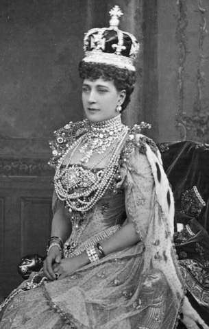 Alexandra, wife of Edward VII, at her coronation in 1902. She is wearing the queen consort's crown set with the Kohinoor. By then a superstition had set in that the diamond must never be worn by a reigning monarch. The last time the jewel was seen in public was in 2002 at the funeral of the Queen Mother, Elizabeth, when her crown, with the Kohinoor as the centrepiece, was placed on her coffin