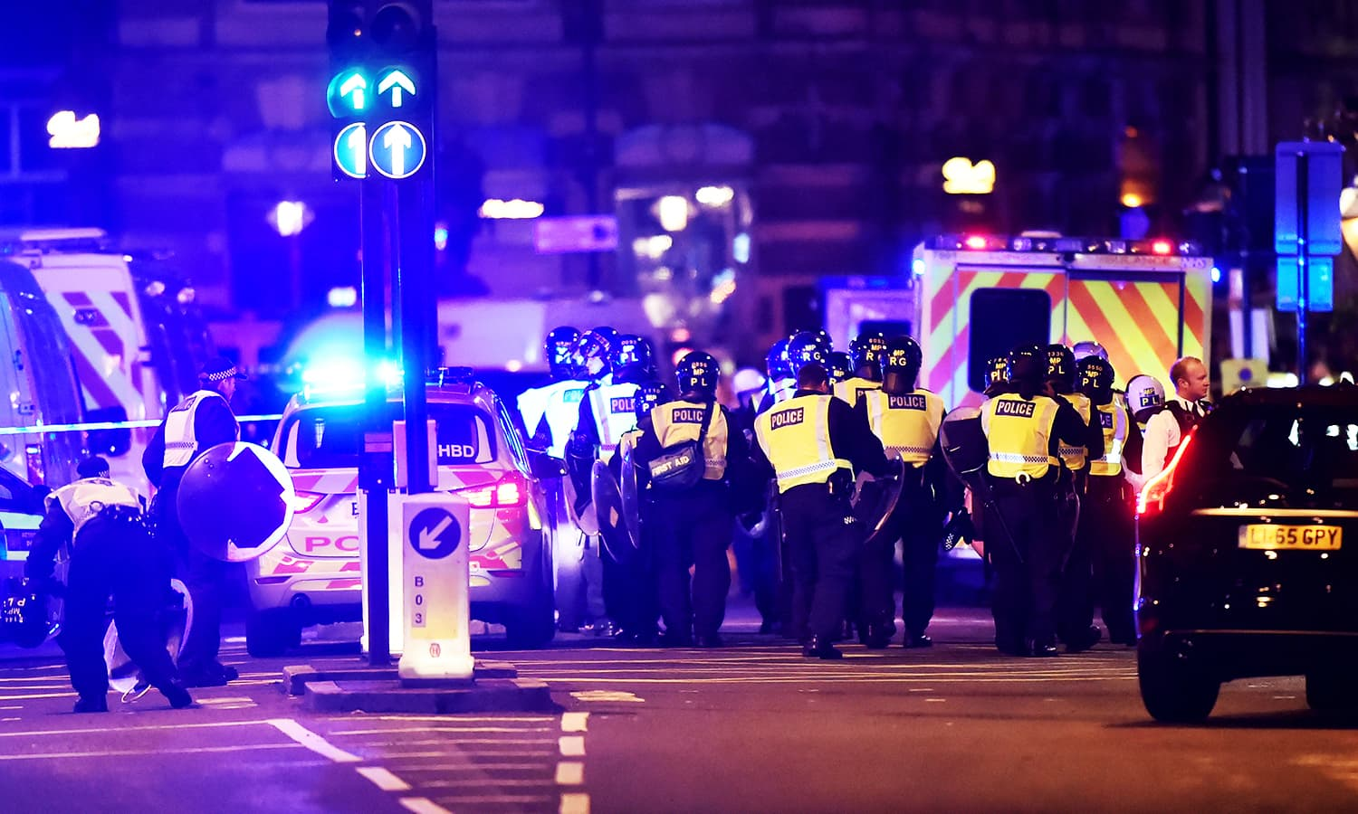 Police attend to an incident on London Bridge in London.─Reuters