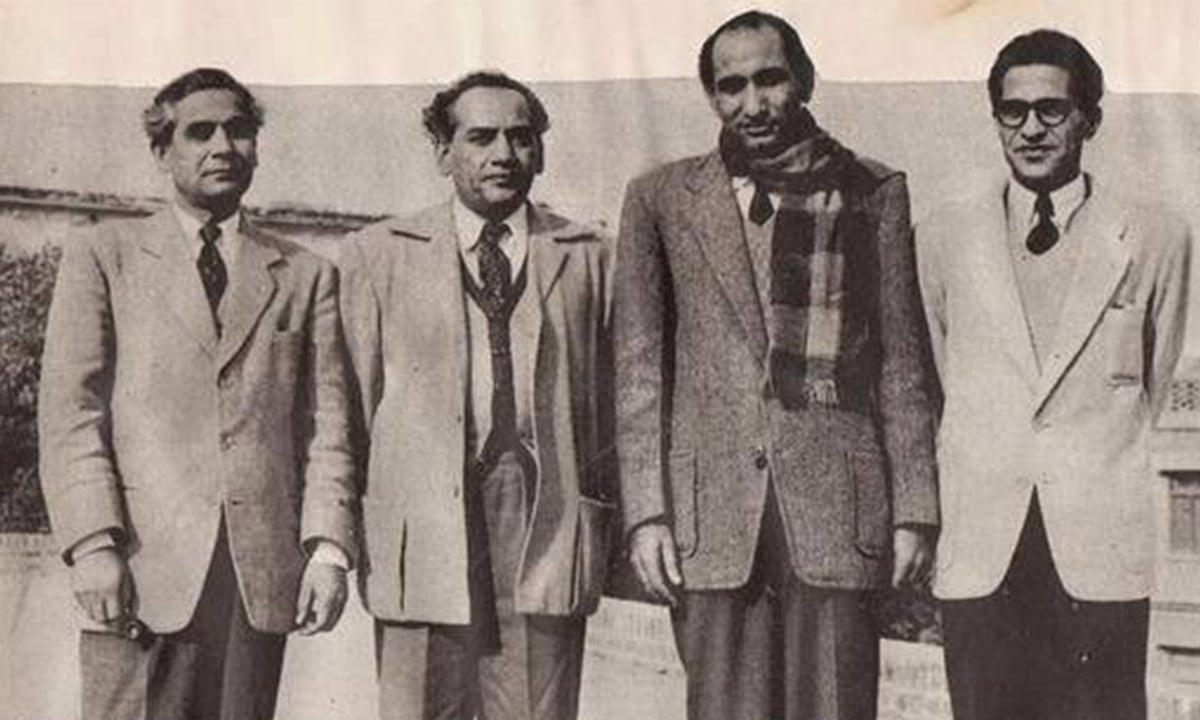 Progressive writers (left to right) Sibte Hasan, Faiz Ahmed Faiz, Hameed Akhtar and Ahmed Nadeem Qasmi