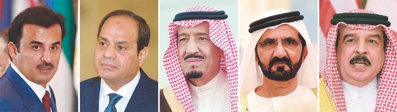 (From left) Qatar's Emir Sheikh Tamim bin Hamad al-Thani, Egyptian President Abdel Fattah al-Sisi, Saudi King Salman, United Arab Emirates Prime Minister Sheikh Mohammed bin Rashid al-Maktoum and Bahrain's King Hamad bin Issa al-Khalifa.—AFP