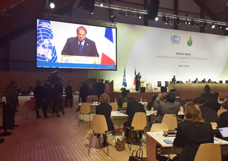 Pakistani PM Nawaz Sharif giving his speech in Paris.