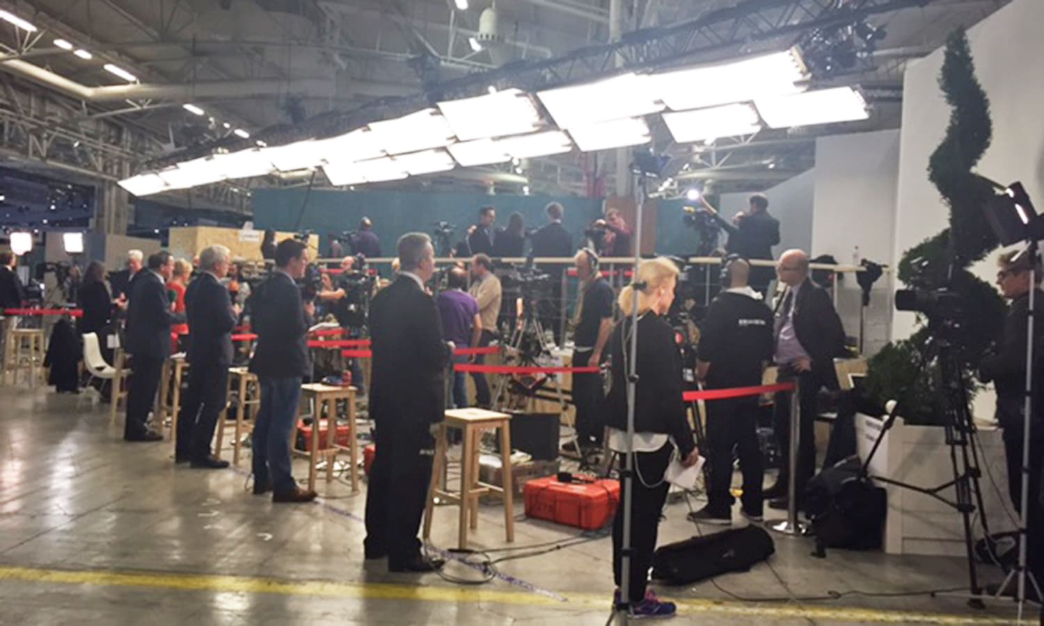 Media frenzy outside the plenary when the Paris Agreement was announced.