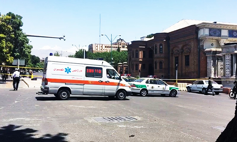 An image grab taken from AFPTV shows ambulances and police vehicles arriving at the scene outside the mausoleum of Ayatollah Ruhollah Khomeini.—AFP