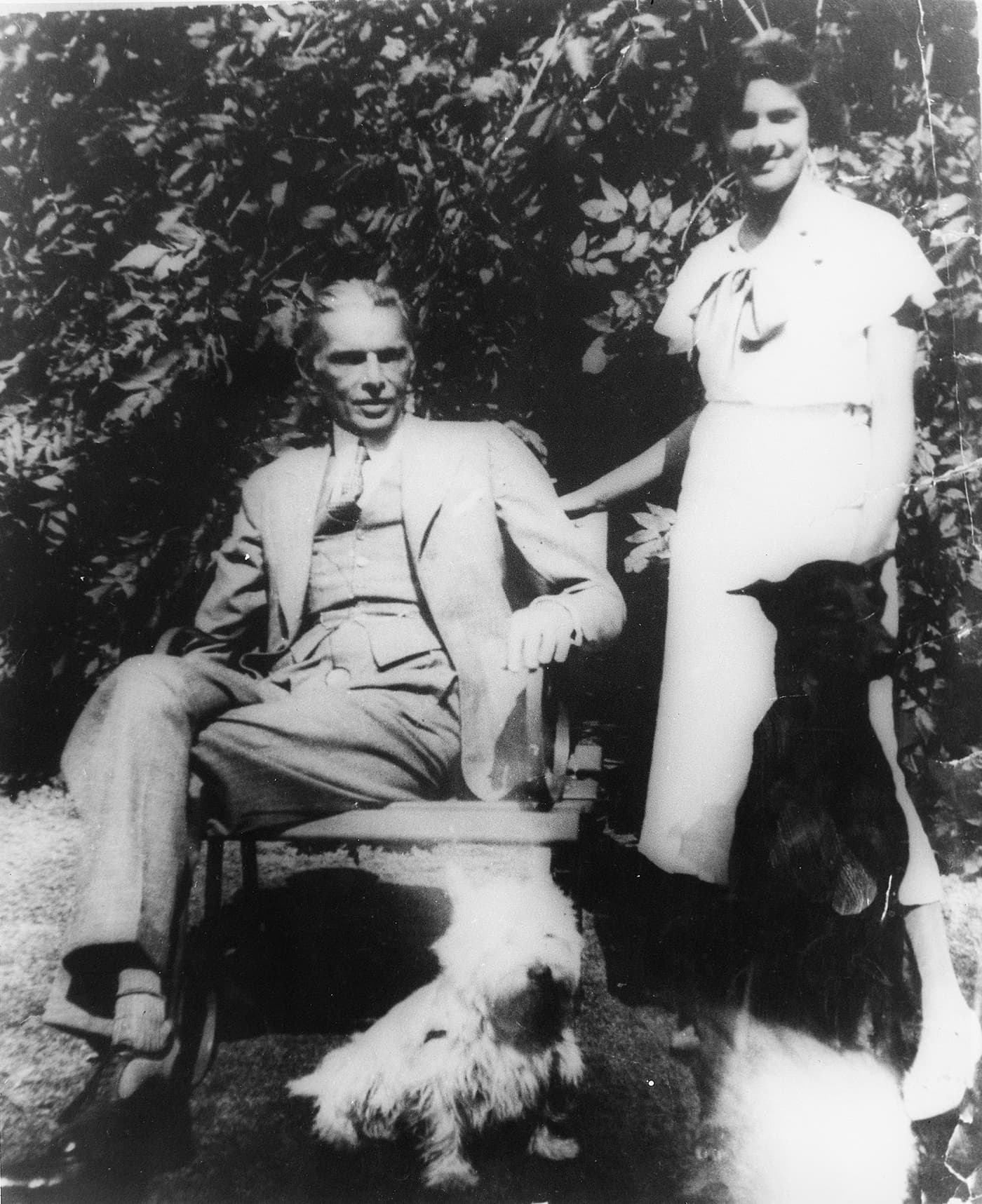 Mr Jinnah and Dina share a private moment in the grounds of their home on West Heath Road in Hampstead, London. —​ Courtesy National Archive Islamabad