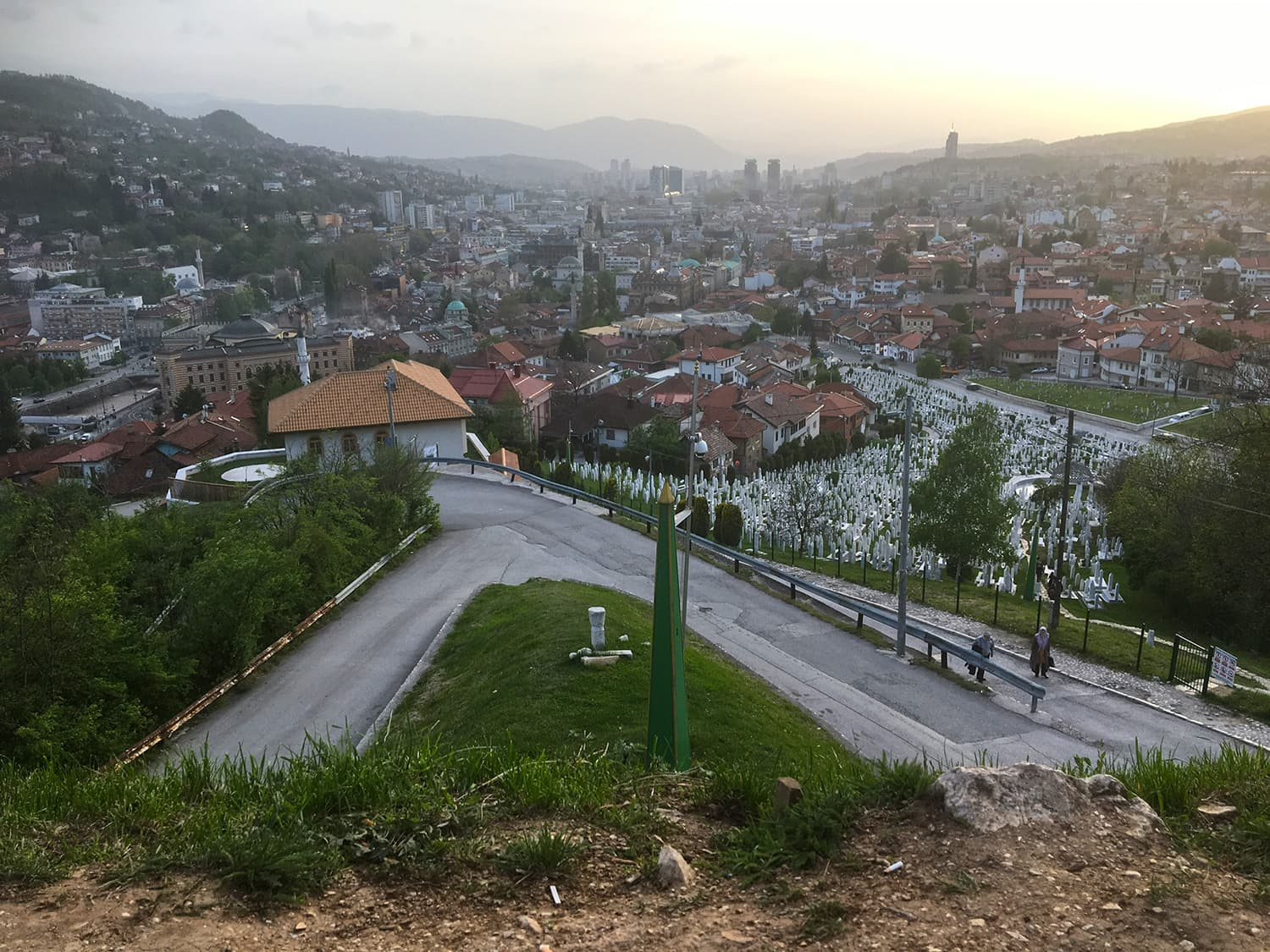 A view of Sarajevo from the mountains that surround it.