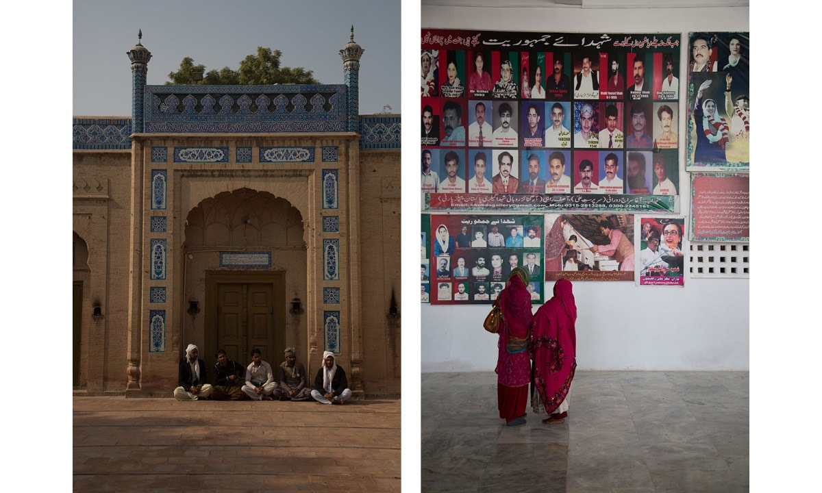 (Left) Devotees wait outside the shrine of Khawaja Ghulam Farid in Kot Mithan; (Right) Visitors viewing a gallery inside Zulfikar Ali Bhutto's mausoleum in Garhi Khuda Bakhsh village