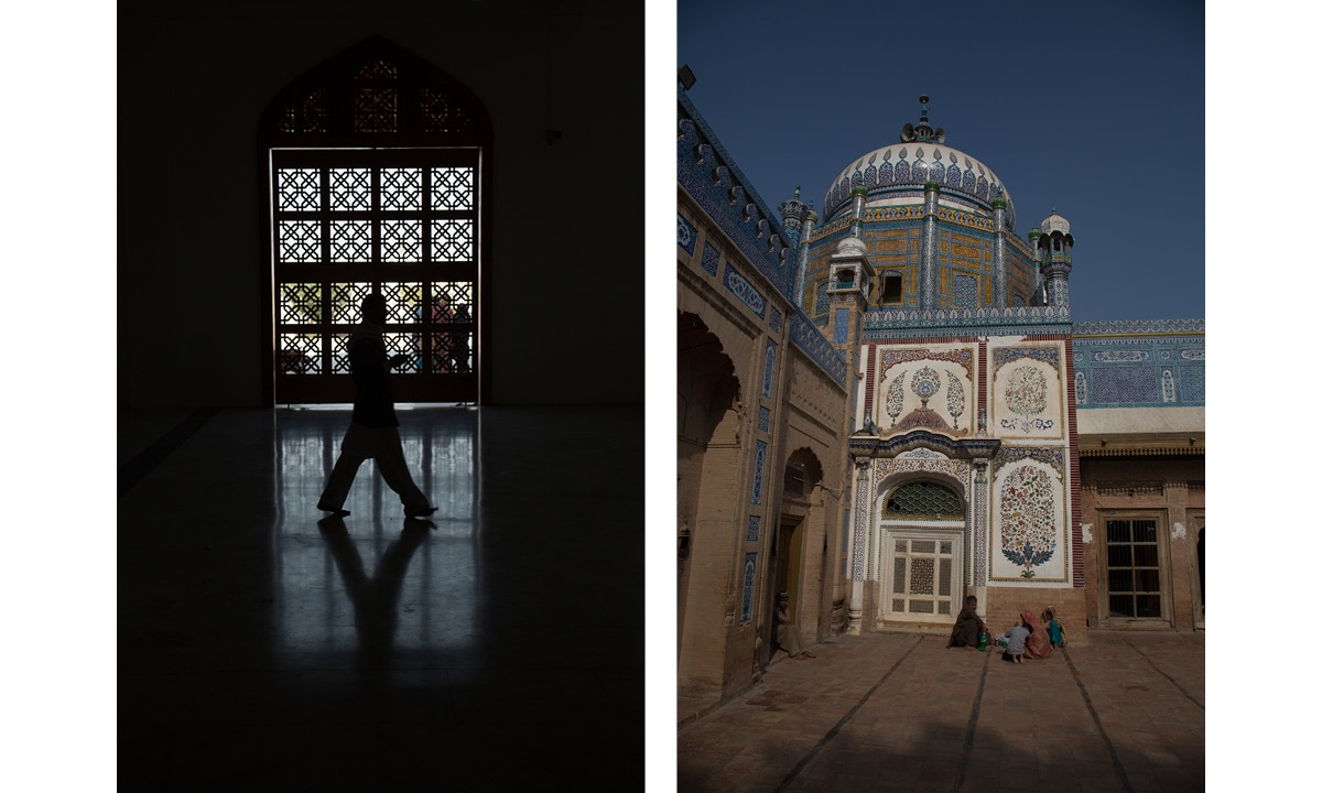 (Left) Inside Zulfikar Ali Bhutto's mausoleum in Garhi Khuda Bakhsh village; (Right) Shrine of Khawaja Ghulam Farid in Kot Mithan.