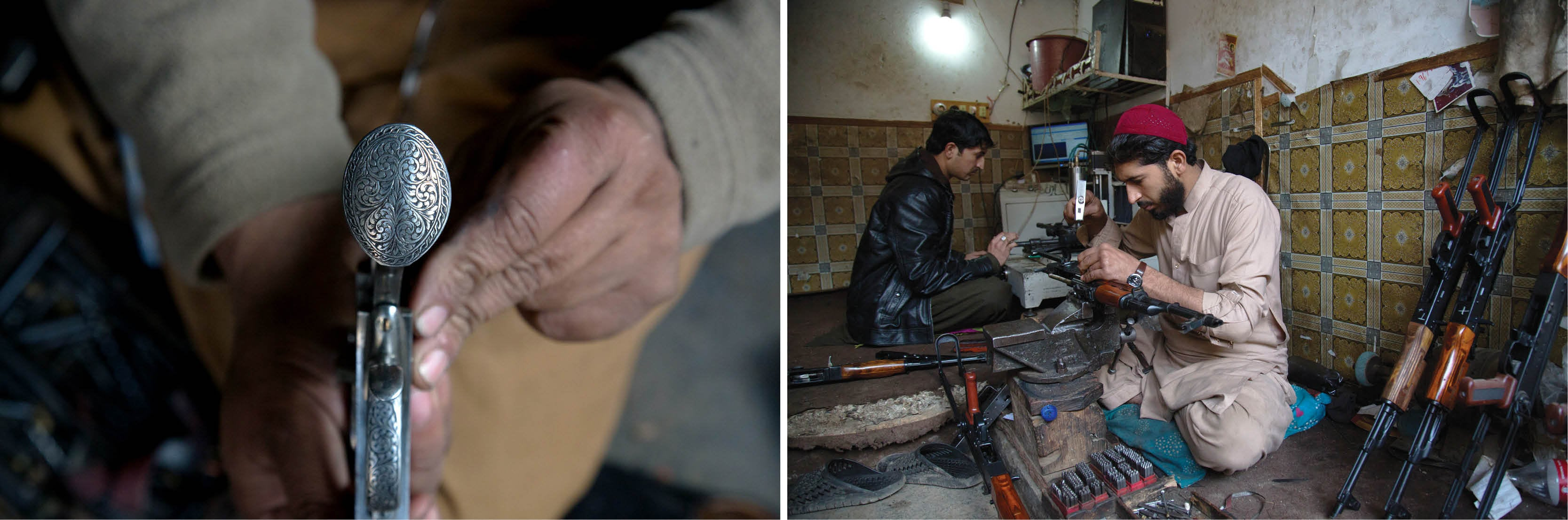 (Left) Arms traders in Darra Adam Khel main bazaar are experts in carving floral designs on weapons; (Right) An arms trader works on an AK-47 in Darra Adam Khel main bazaar