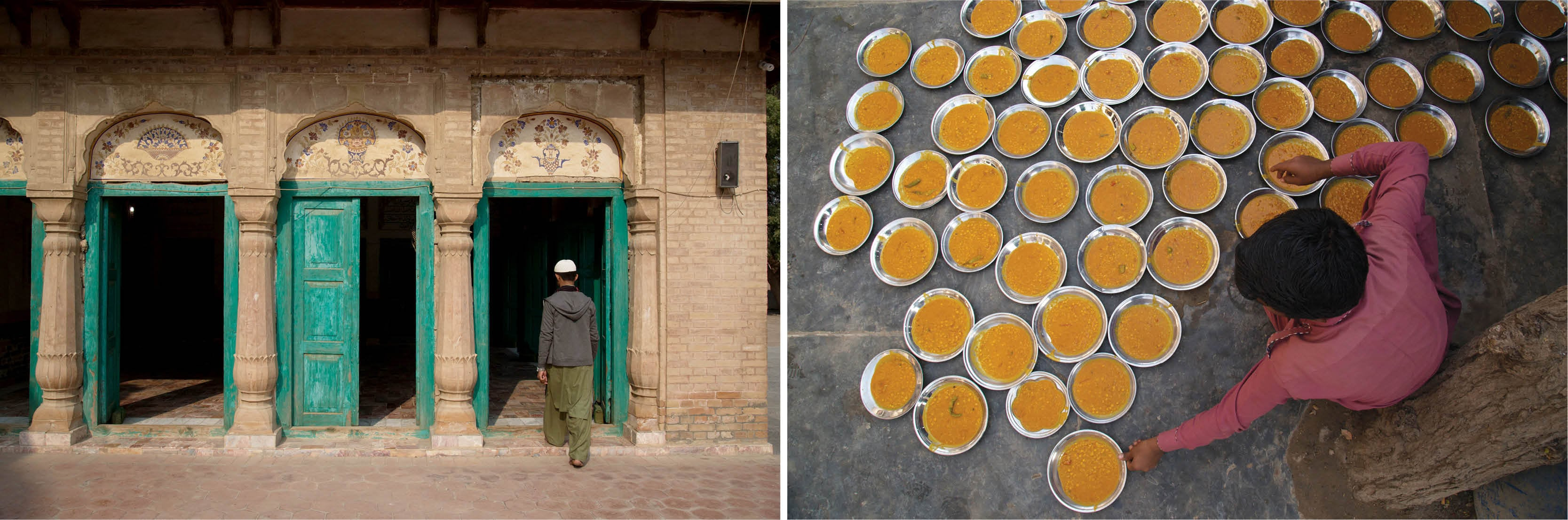 (Left) Entrance of the mosque next to the shrine of Khawaja Ghulam Farid in Kot Mithan; (Right) Langar, a community kitchen, serving free food to pilgrims at the shrine of Khawaja Ghulam