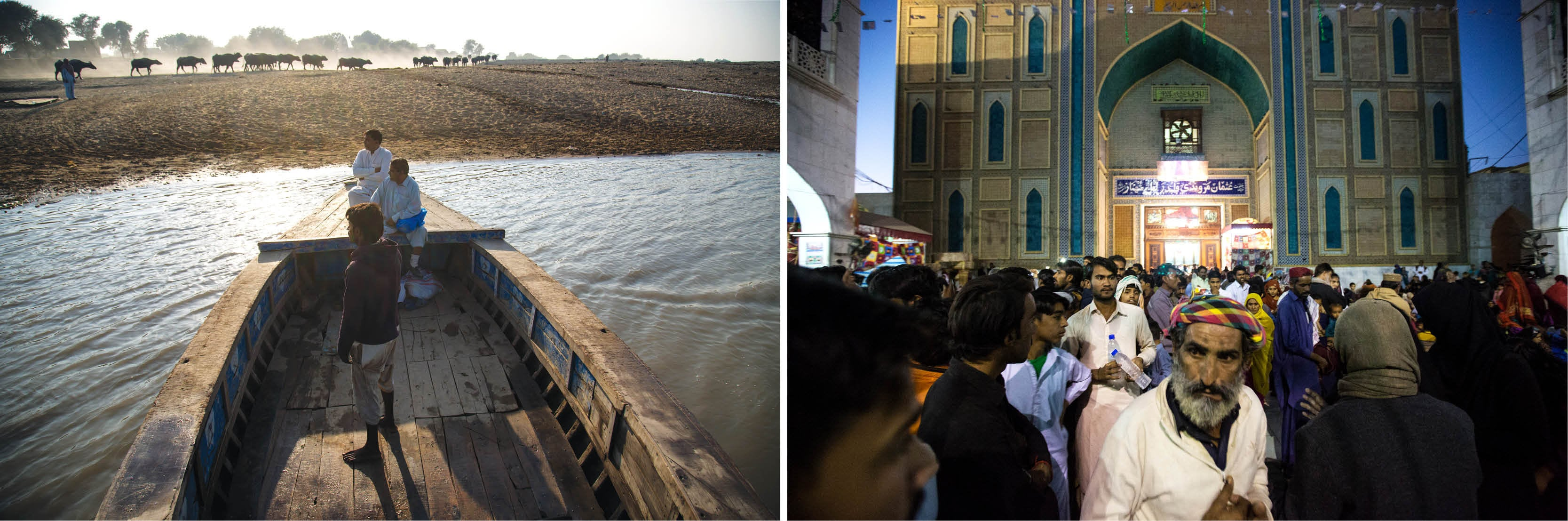 (Left) A boat used for transporting people across the Indus river at Sann; (Right) A crowd gathers near the entrance of Lal Shahbaz Qalandar's shrine in Sehwan after the evening *dhamaal*