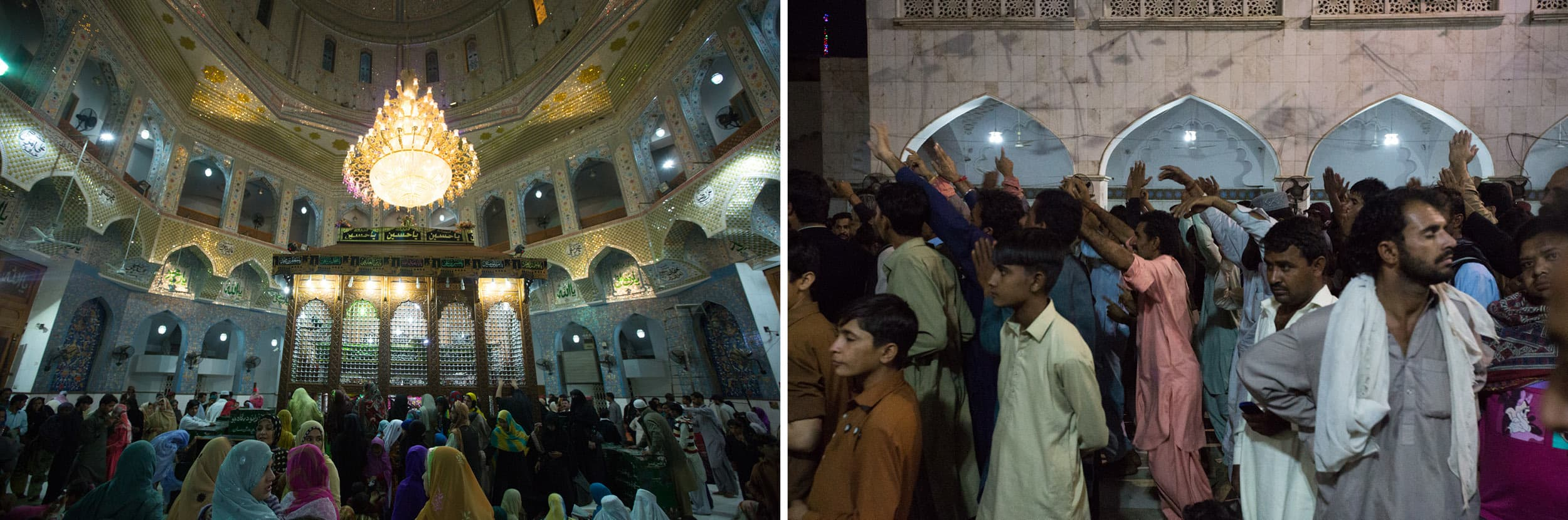 (Left) A crowd gathers around the sarcophagus of Lal Shahbaz Qalandar; (Right) Men react to *dhamaal* at Lal Shahbaz Qalandar's shrine