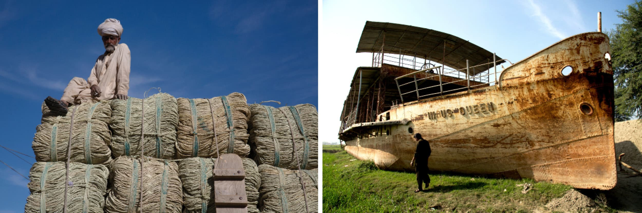 (Left) A man sits atop ropes made of date palm leaves in Fort Munro; (Right) An abandoned boat at the bank of the Indus River in Kot Mithan