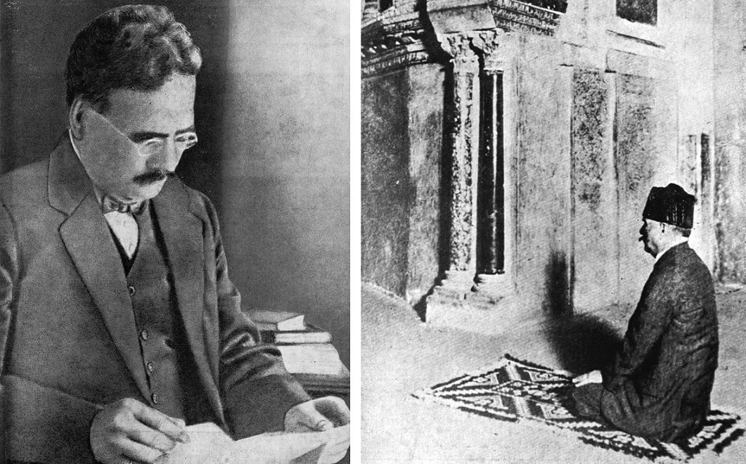 The young barrister Muhammad Iqbal in his library (left). At the historic Mezquita (mosque) of Cordoba, in Andalusia, Spain in 1933 (right). —​ Courtesy Iqbal Academy