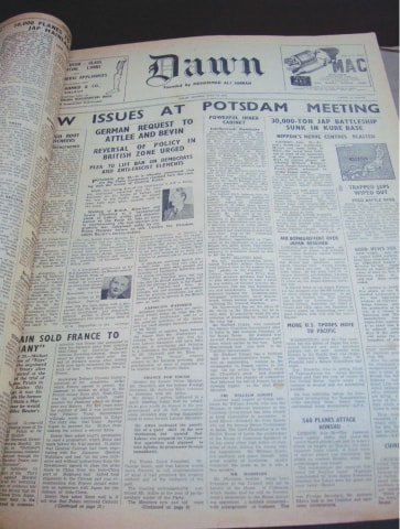 A 1945 copy of Dawn. The Potsdam meeting was convened by the Allied forces to deliberate the future of Germany which had surrendered in May