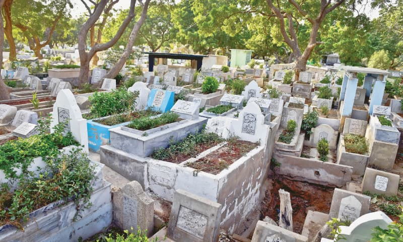 The Paposh Nagar graveyard in North Nazimabad is also affected by the ban on burials due to non-availability of space.—Fahim Siddiqi / White Star