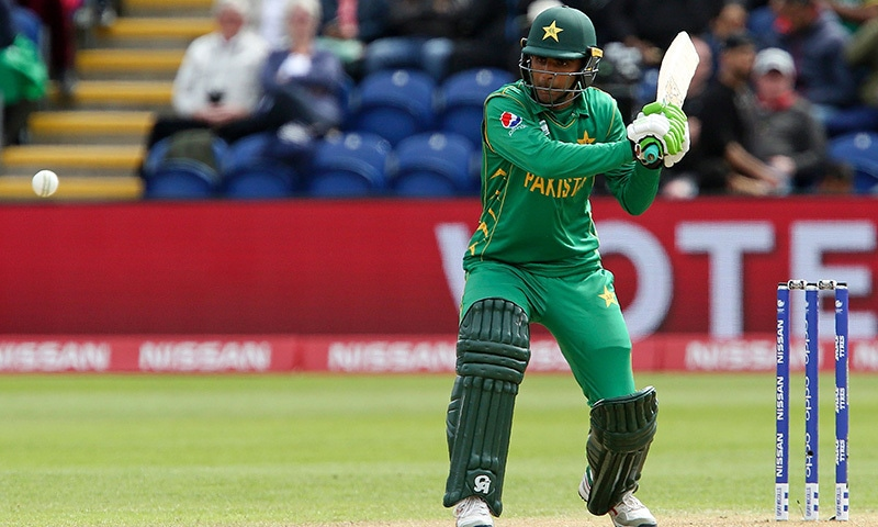 Fakhar Zaman prepares to play a shot to be caught out for 50 runs by Asela Gunaratne (unseen).─AFP.