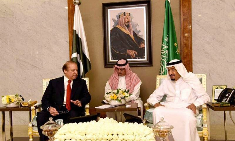 Prime Minister Nawaz Sharif meets with Saudi King Salman bin Abdul Aziz.─Radio Pakistan