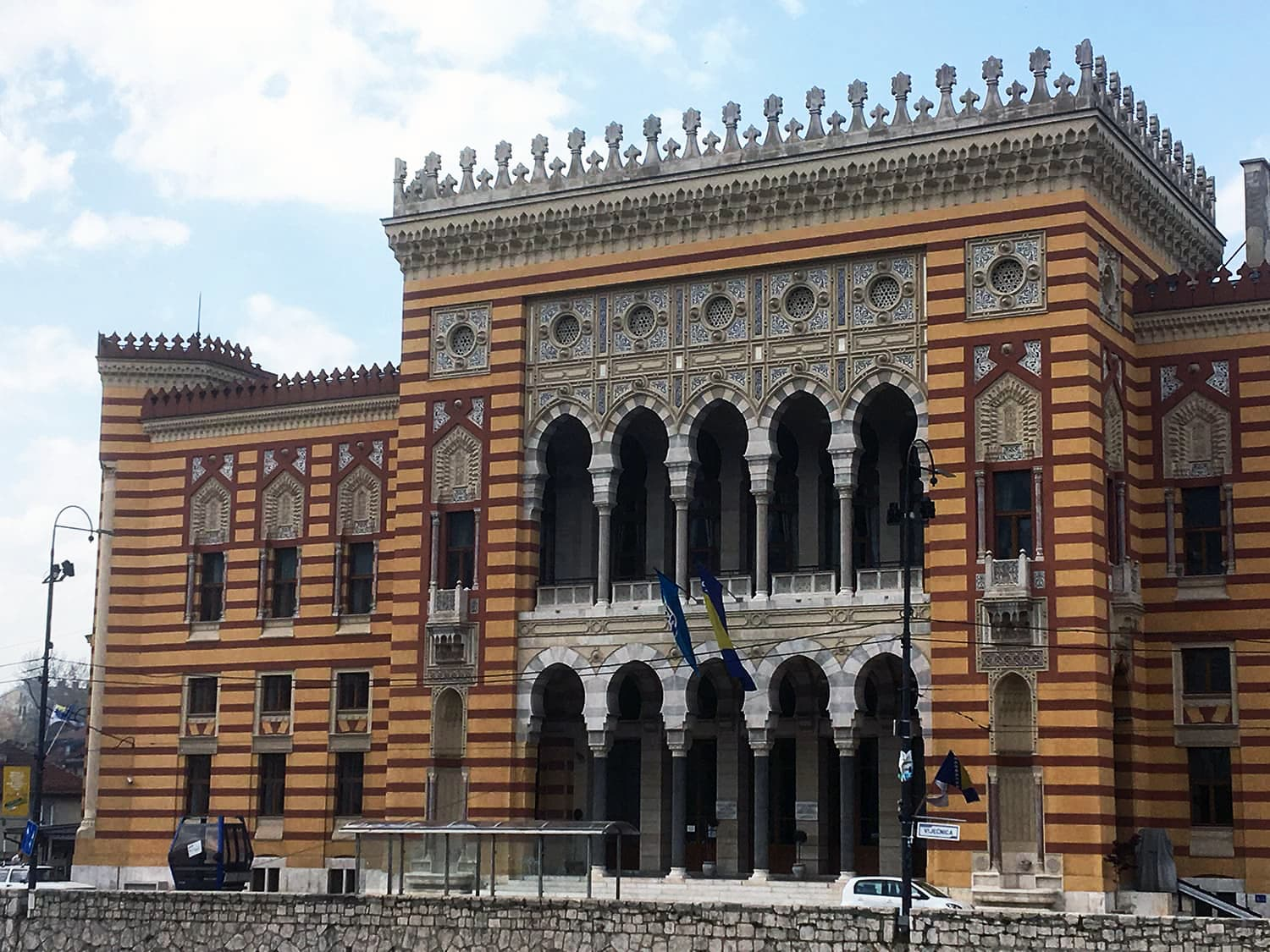 The Vijecnica Sarajevo Town Hall built by the Austro-Hungarians in Moorish-style architecture.