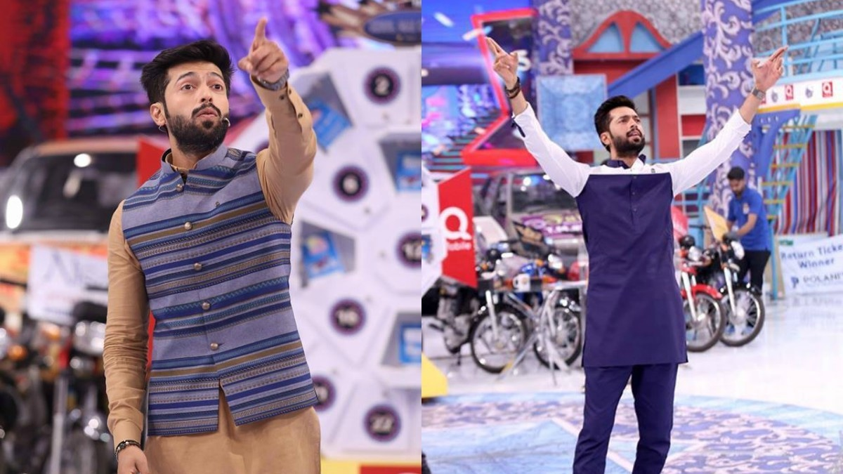 Fahad Mustafa in questionable Eastern-wear
