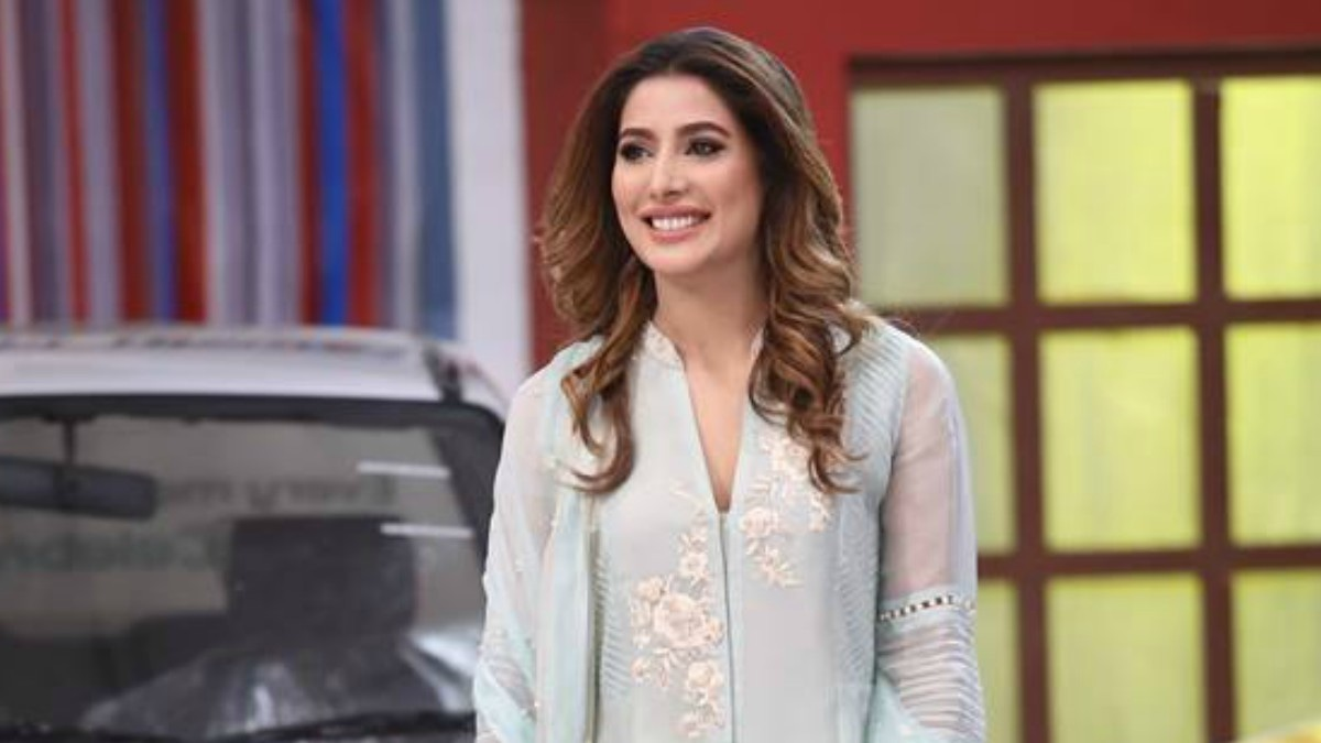 Mehwish Hayat in a powder-blue tunic.