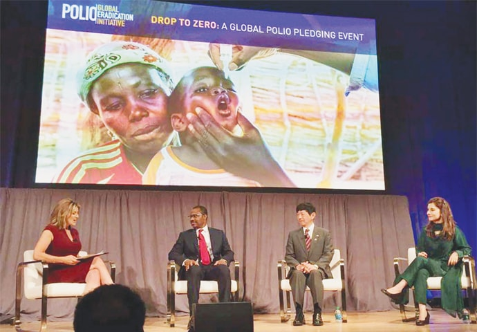 Senator Ayesha Raza Farooq (right), the Prime Minister's Focal Person for Polio Eradication, participates in a seminar, the Global Forum on Polio, in Atlanta, USA.—APP