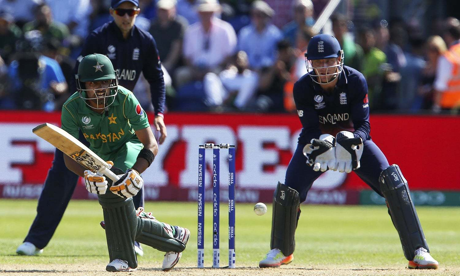 Babar Azam bats against England in the semi-final.— AFP