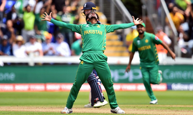 Hasan Ali celebrates after dismissing Eoin Morgan for 33 runs.─AFP