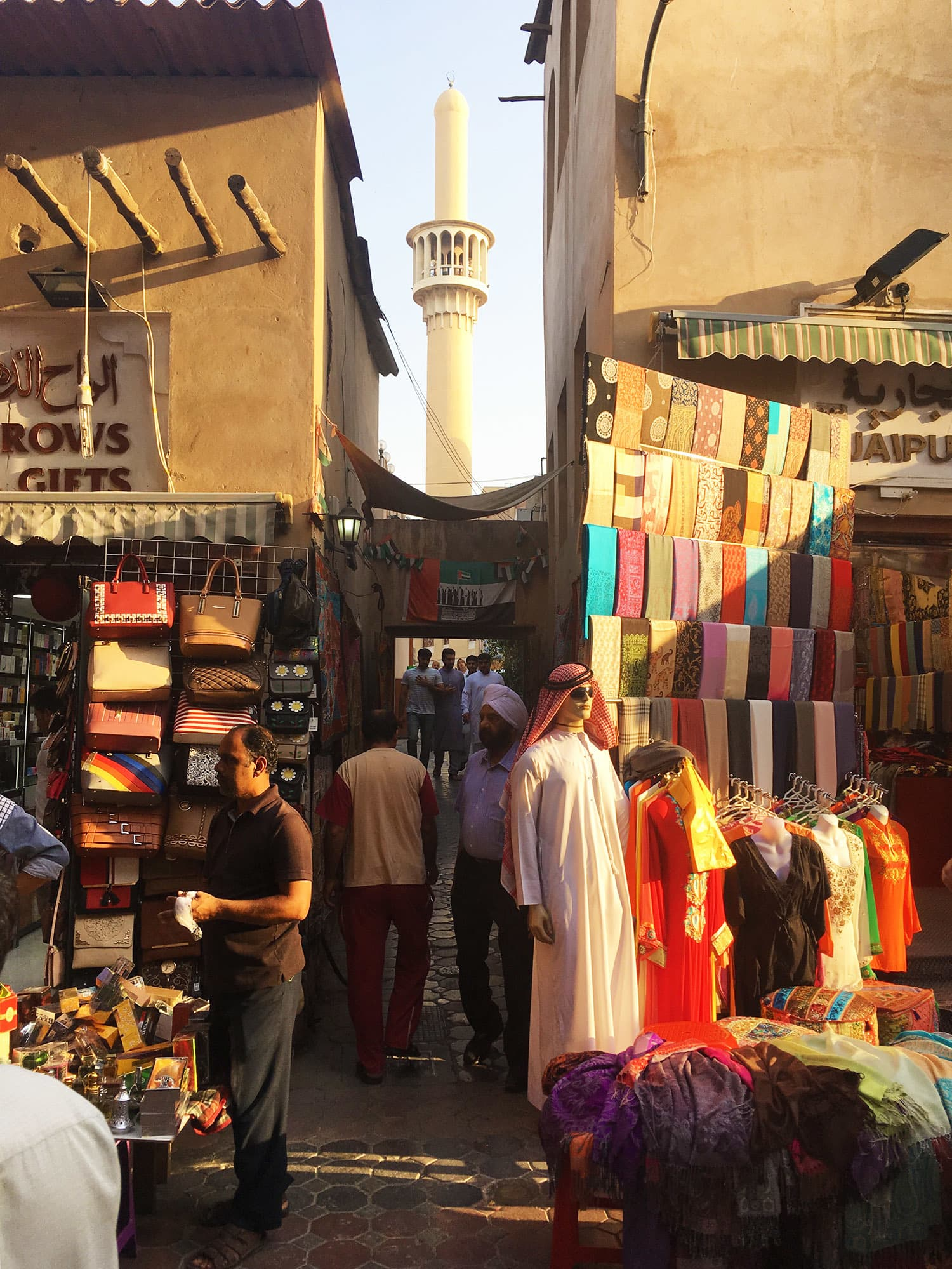 The busy shops selling various paraphernalia at the *souk*, which runs parallel to the Dubai Creek.