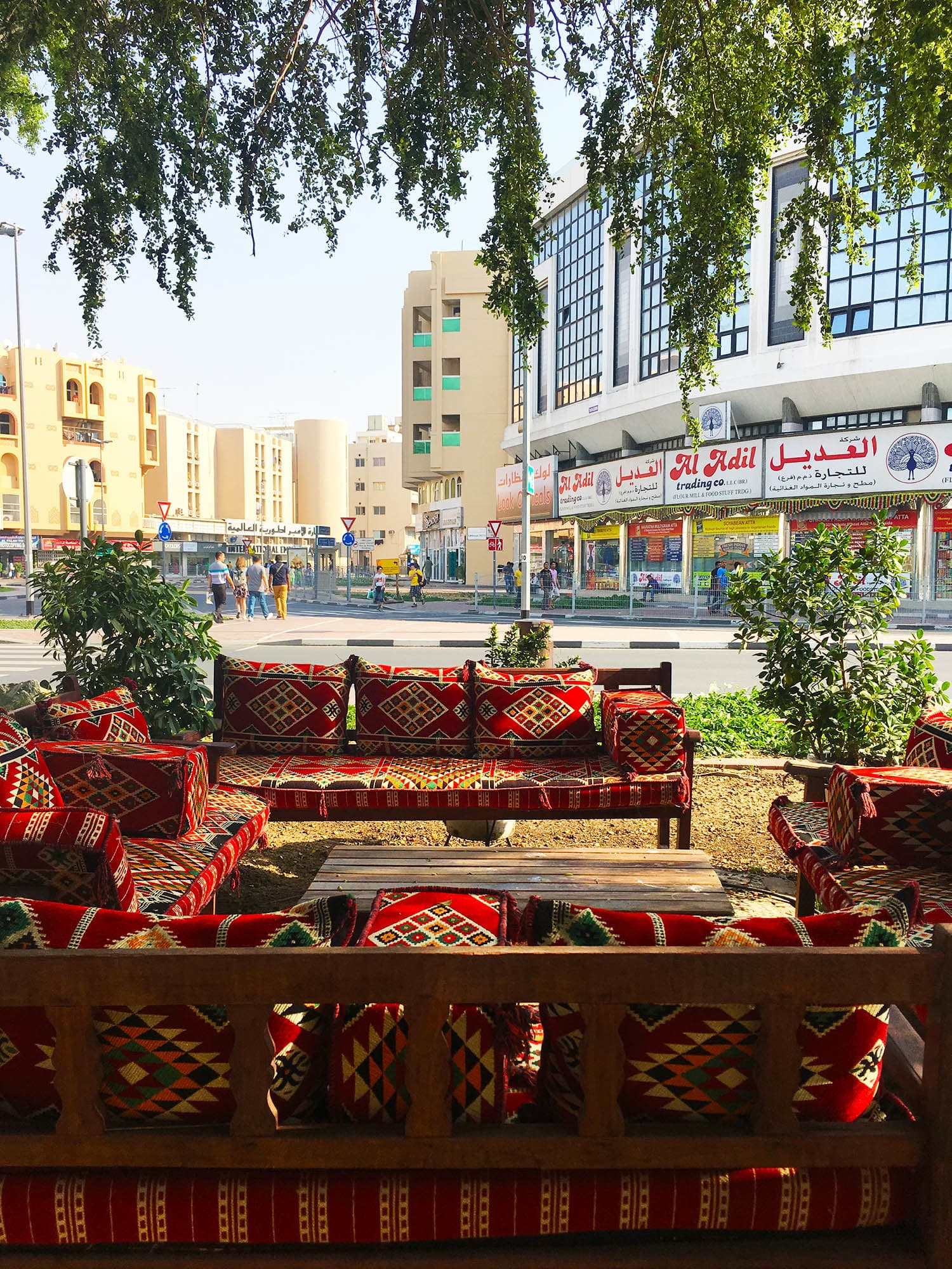 An Arabic *majlis* (sitting area) outside one of the cafes in Al Fahidi.