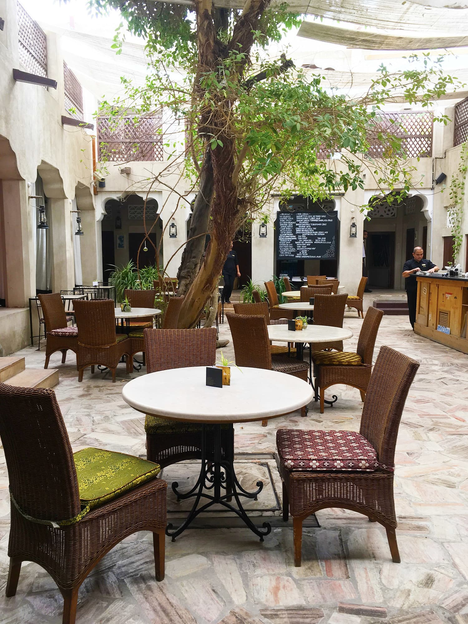 One of the three courtyards of the XVA Gallery and Hotel where you can enjoy some shade from the sun.