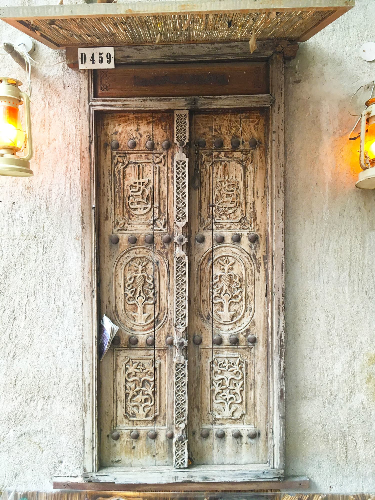 One of the beautiful, antique wooden doors on display.