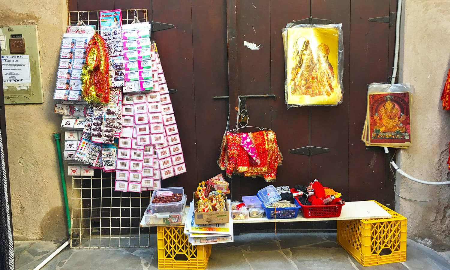 Items of worship for sale near the temples.