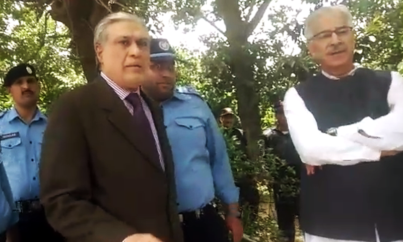 Ishaq Dar and Khawaja Asif were turned away from FJA premises. ─ DawnNews
