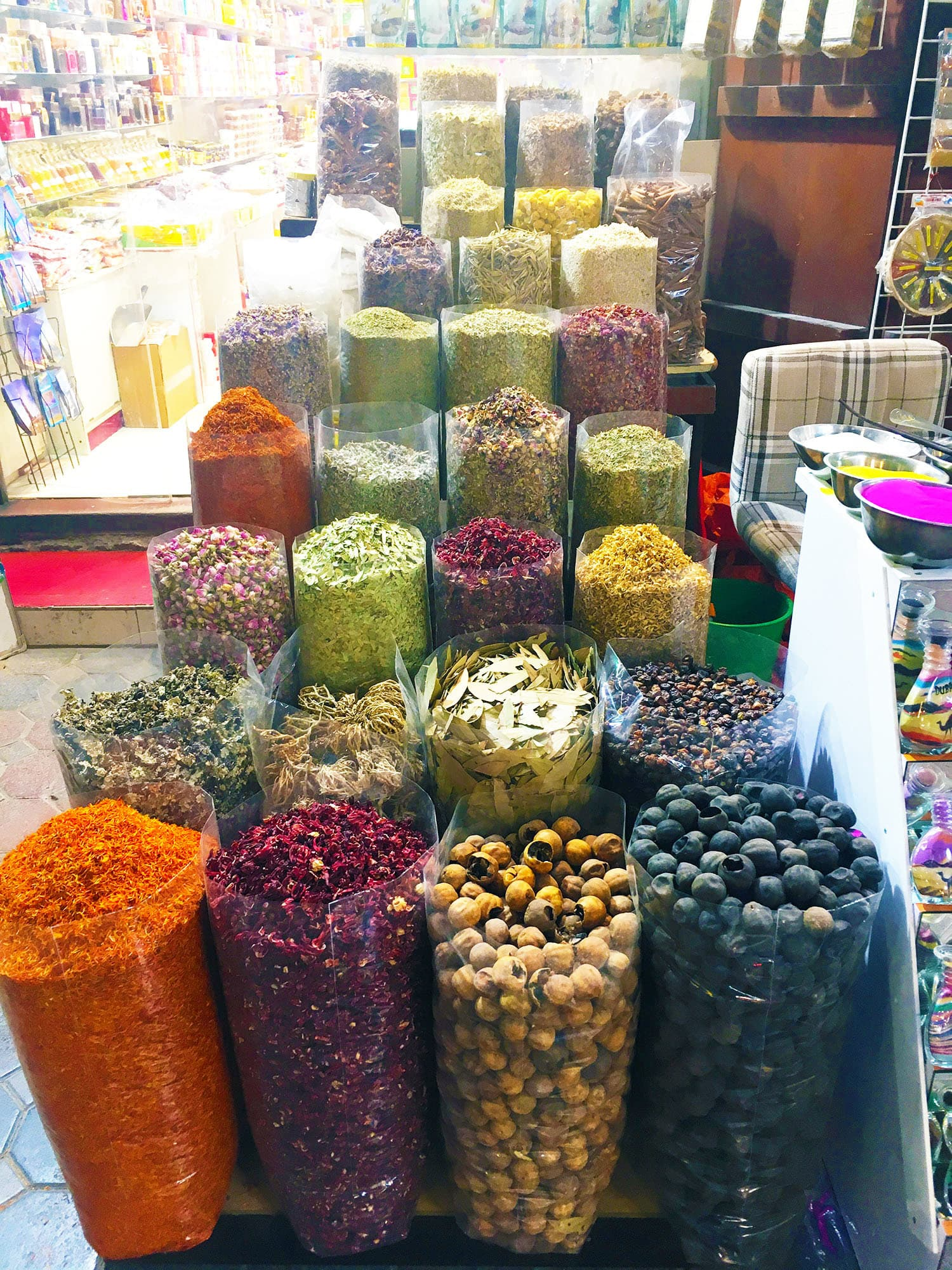 The *souks* in Dubai are famous for fragrant herbs and spices.