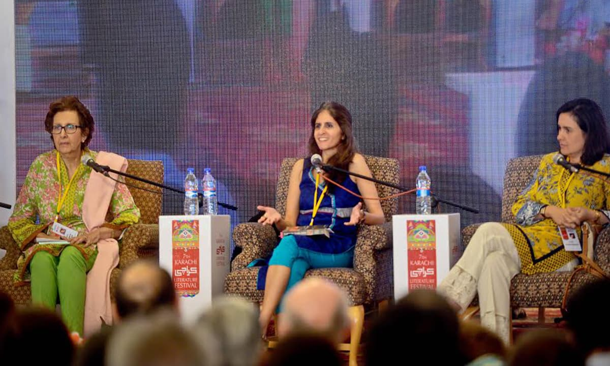 Muneeza Shamsie, Uzma Aslam Khan and Kamila Shamsie at the 7th Karachi Literature Festival | Faheem Siddiqui, White Star