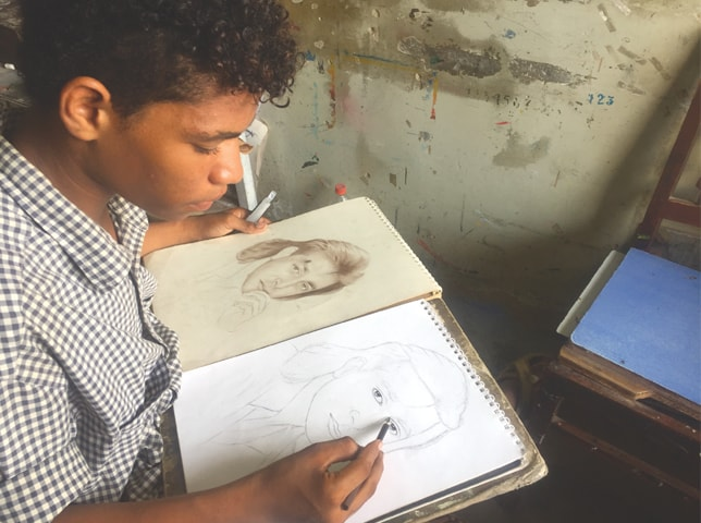 Jawad Baloch at work.—Photo by writer