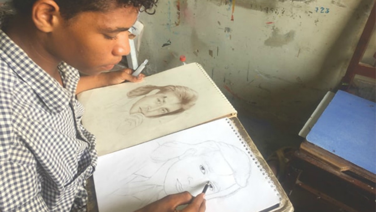Jawad's father spotted his talent for sketching and encouraged him to continue — Photo by Saher Baloch