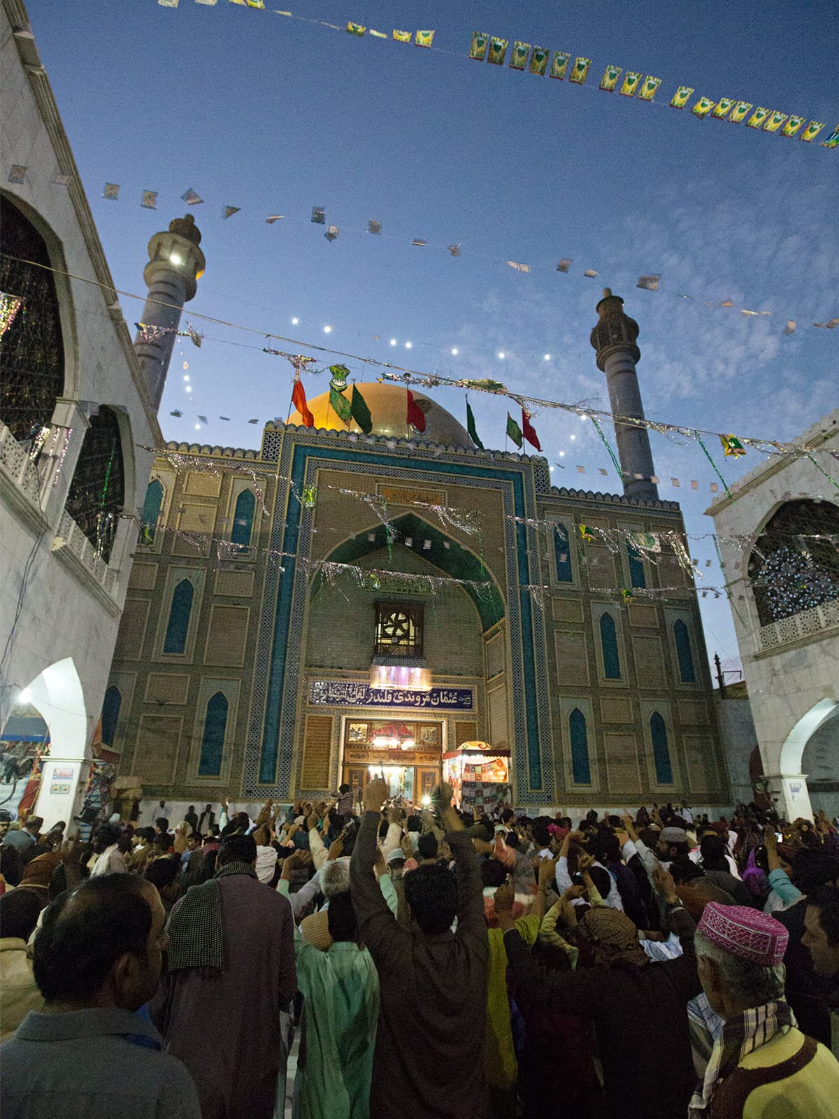 Pilgrims during the *dhamaal* at the shrine of Lal Shahbaz Qalandar in Sehwan