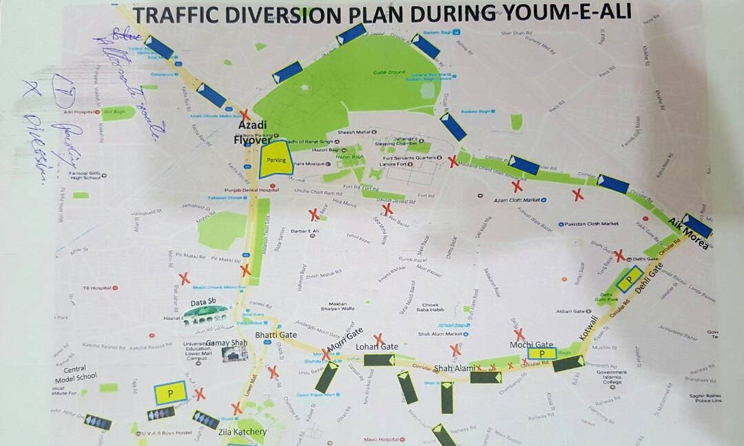 Traffic diversion plan for Lahore.
