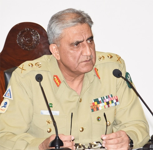 CHIEF of the Army Staff Gen Qamar Javed Bajwa at the National Defence University on Friday.