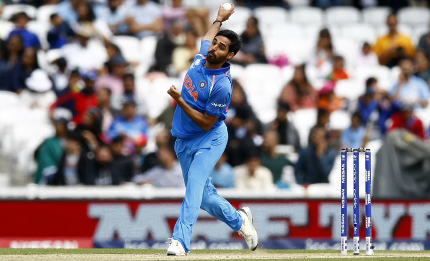 Kumar has bowled 22.3 overs across three games in the tournament taking four wickets for 100 runs at a very decent economy rate of 4.44 – Photo: Reuters.