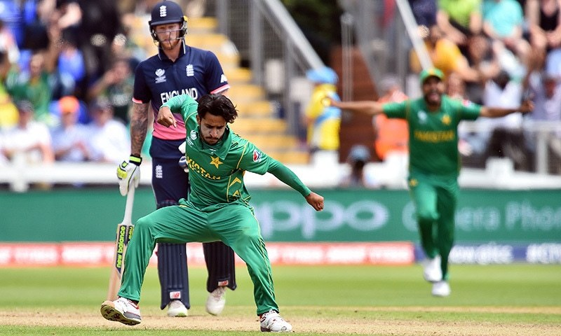 Hasan Ali celebrates taking the wicket of England's Eoin Morgan for 33 runs during the ICC Champions Trophy semi-final. — File