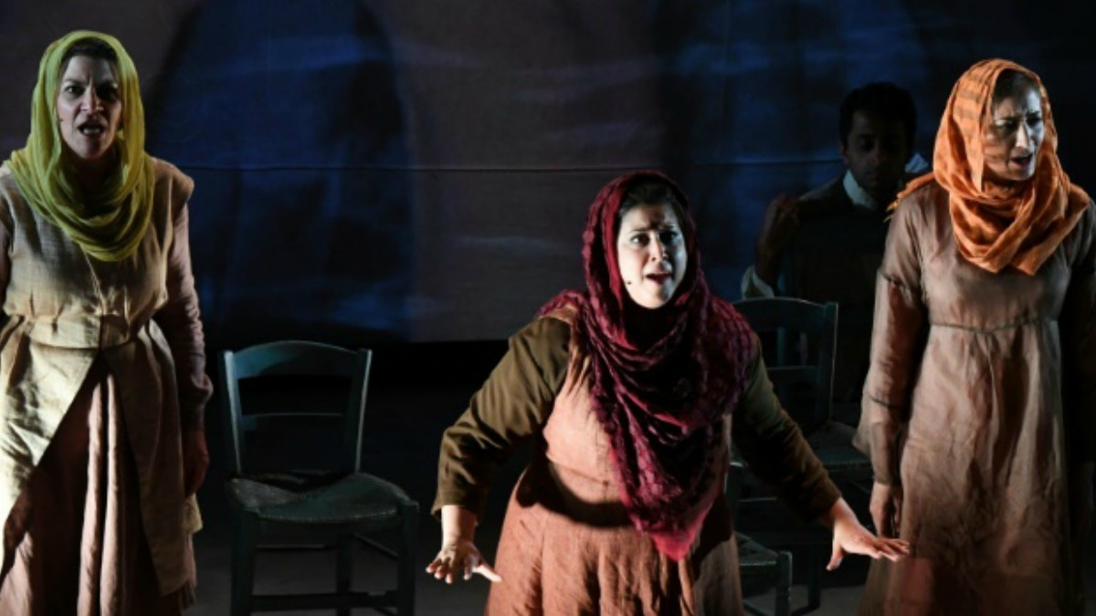 Kamala Sankaram (C) portrays Pakistani women's rights activist Mukhtar Mai in the opera 'Thumbprint', at the Roy and Edna Disney/Calarts Theater