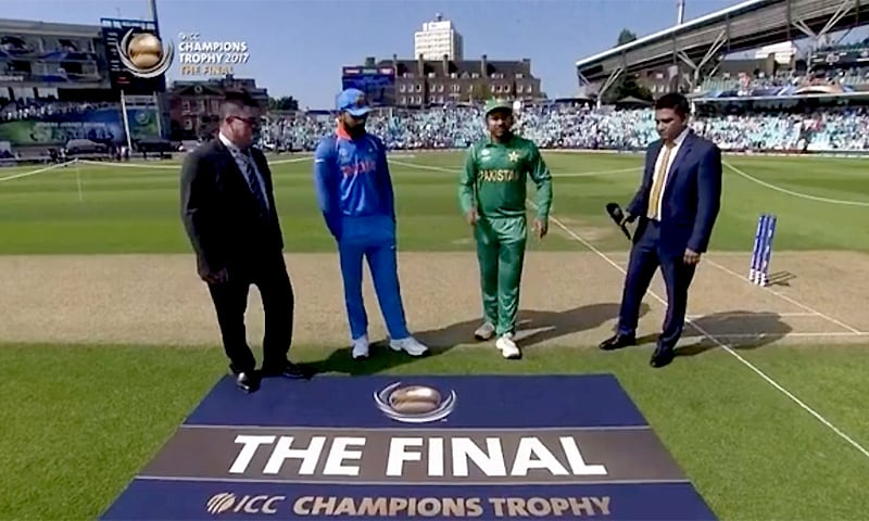 India won the toss and decided to field first in the Champions Trophy final at The Oval. — Photo courtesy ICC Official Twitter