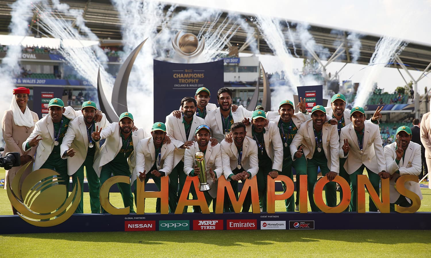 Pakistan lift the Champions Trophy after a nail-biting final match against India at the Oval in London. — Reuters