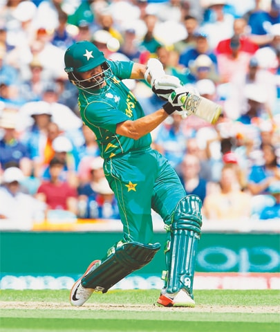PAKISTAN opener Azhar Ali plays a shot during the ICC Champions Trophy final against India at The Oval on Sunday.—AFP