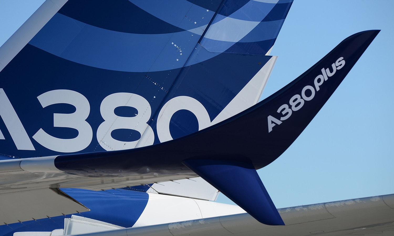 An Airbus A380 with the mention A380 plus stands on the tarmac of Le Bourget. ─ AFP